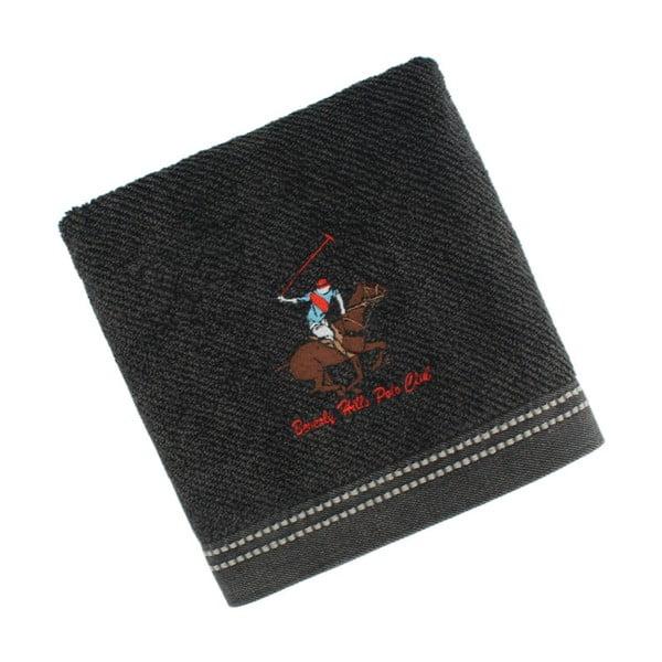 Černý bavlněný ručník BHPC s výšivkou, 50x100 cm