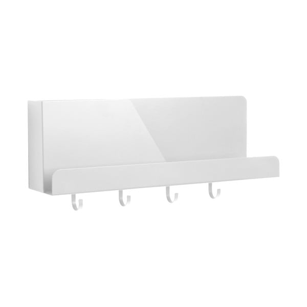 Organizator metalic de perete cu cârlige PT LIVING Perky, lungime46cm, alb