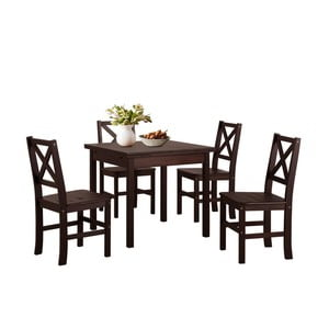 Set tmavě hnědého jídelního stolu a 4 židlí z borovicového dřeva Støraa  Marlon