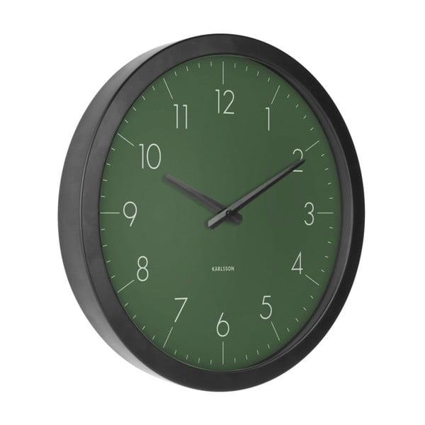 Zelené nástěnné hodiny z jedlového dřeva Karlsson Dainty