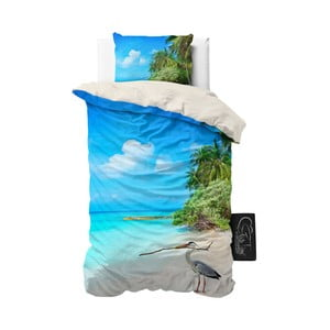 Lenjerie de pat din micropercal Sleeptime Beach Heron, 140 x 220 cm
