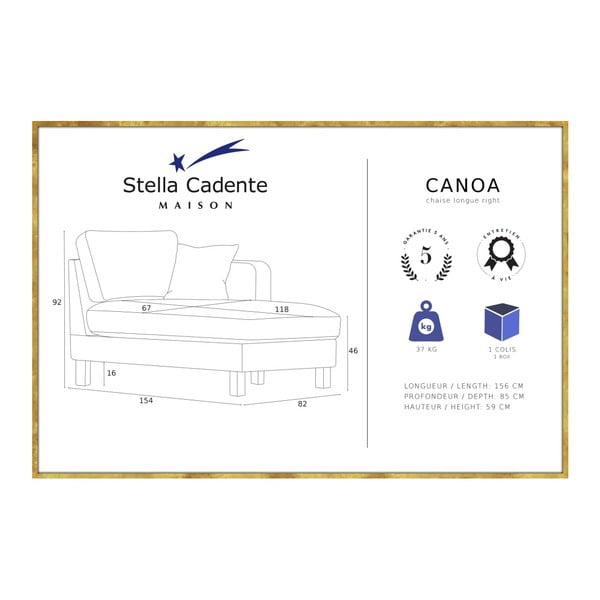 Žlutá lenoška s krémovým polštářem Stella Cadente Maison Maison Canoa, pravá strana