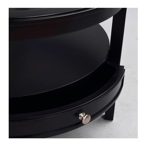 Masă rotundă din lemn de stejar Folke  Nótt, ⌀ 85cm, negru