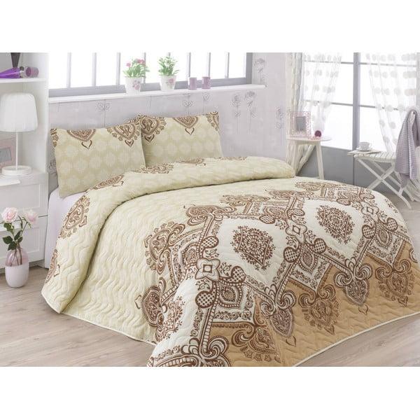 Sada prošívaného přehozu přes postel a dvou povlaků na polštář Adriana Brown, 200x220 cm