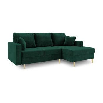 Canapea extensibilă cu 4 locuri și spațiu de depozitare Mazzini Sofas Muguet șezlong pe partea dreaptă, verde imagine