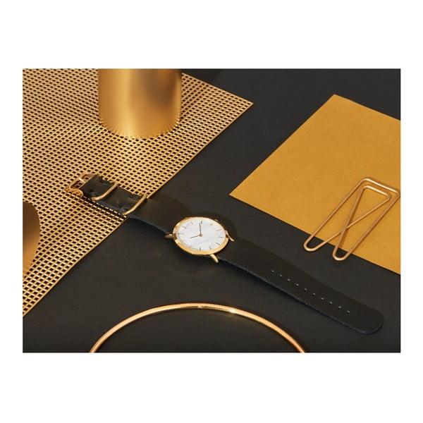 Bílé mramorové hodinky s černým řemínkem Analog Watch Co. Classic