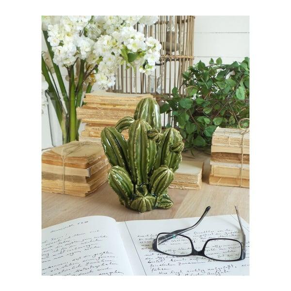 Decorațiune din ceramică Orchidea Milano Cactus, înălțime 23 cm, verde