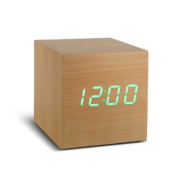 Ceas deșteptător cu LED Gingko Cube Click Clock, maro – verde de la Gingko