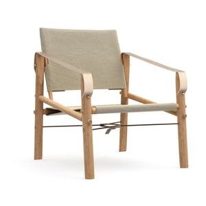 Béžové skládací křeslo s konstrukcí z bambusu Moso We Do Wood Nomad