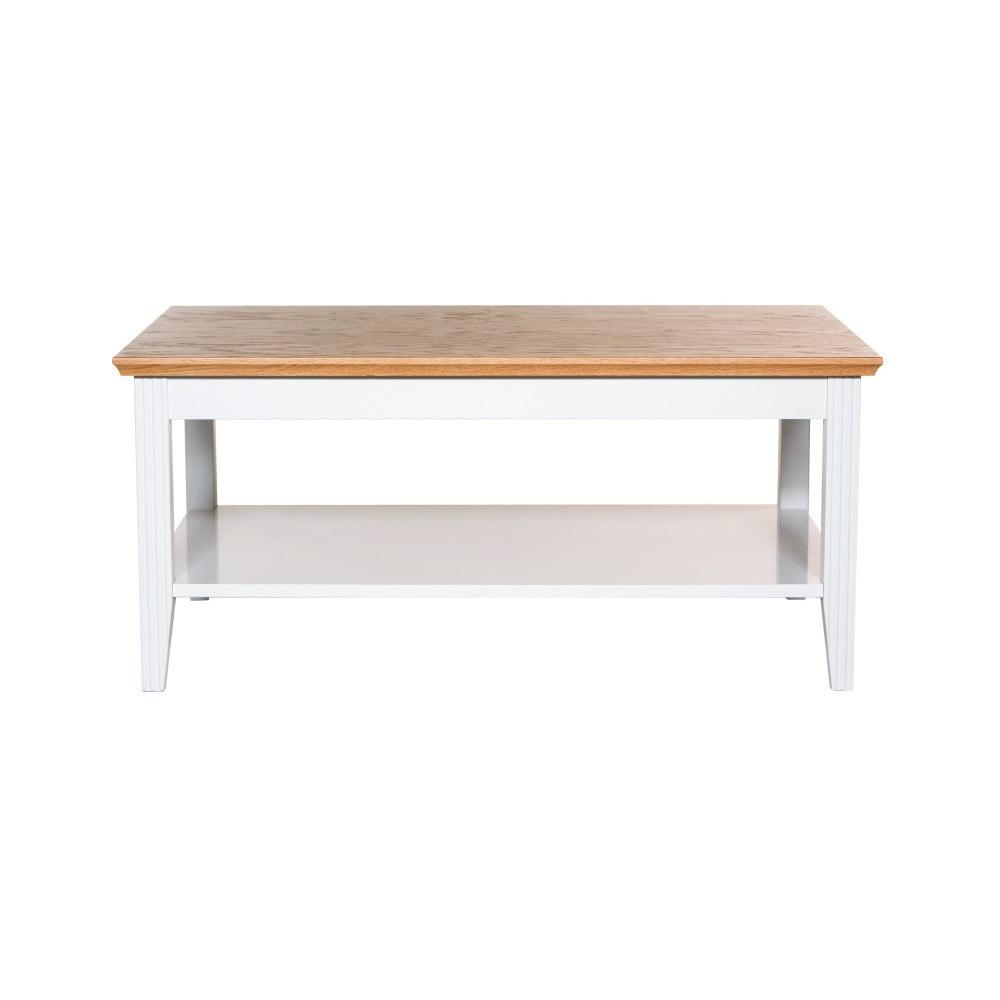 Bílý konferenční stolek s detaily z dubové dýhy Wermo Family, 100x65cm