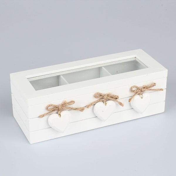 Drevená škatuľka na čaj Dakls Three Hearts