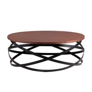 Černý odkládací stolek s deskou v dekoru ořechového dřeva sømcasa Dario