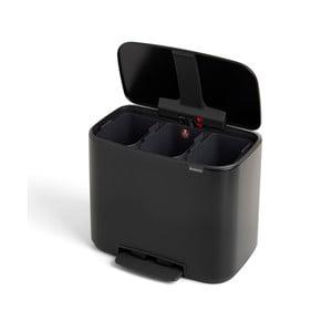 Černý odpadkový koš se 3 přihrádkami Brabantia, 11 l