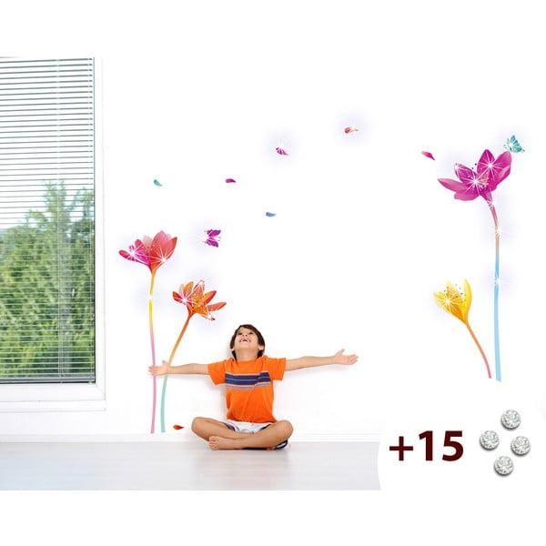 Set samolepky a 15 Swarovski krystalů Ambience Rainbow Flowers