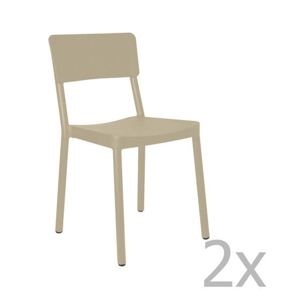 Sada 2 pískově hnědých zahradních židlí Resol Lisboa