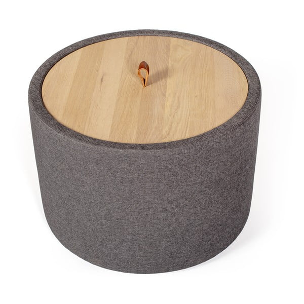 Odkládací stolek v tmavě šedé barvě se snímatelnou deskou z dubového dřeva Askala Ibisco, ⌀56cm