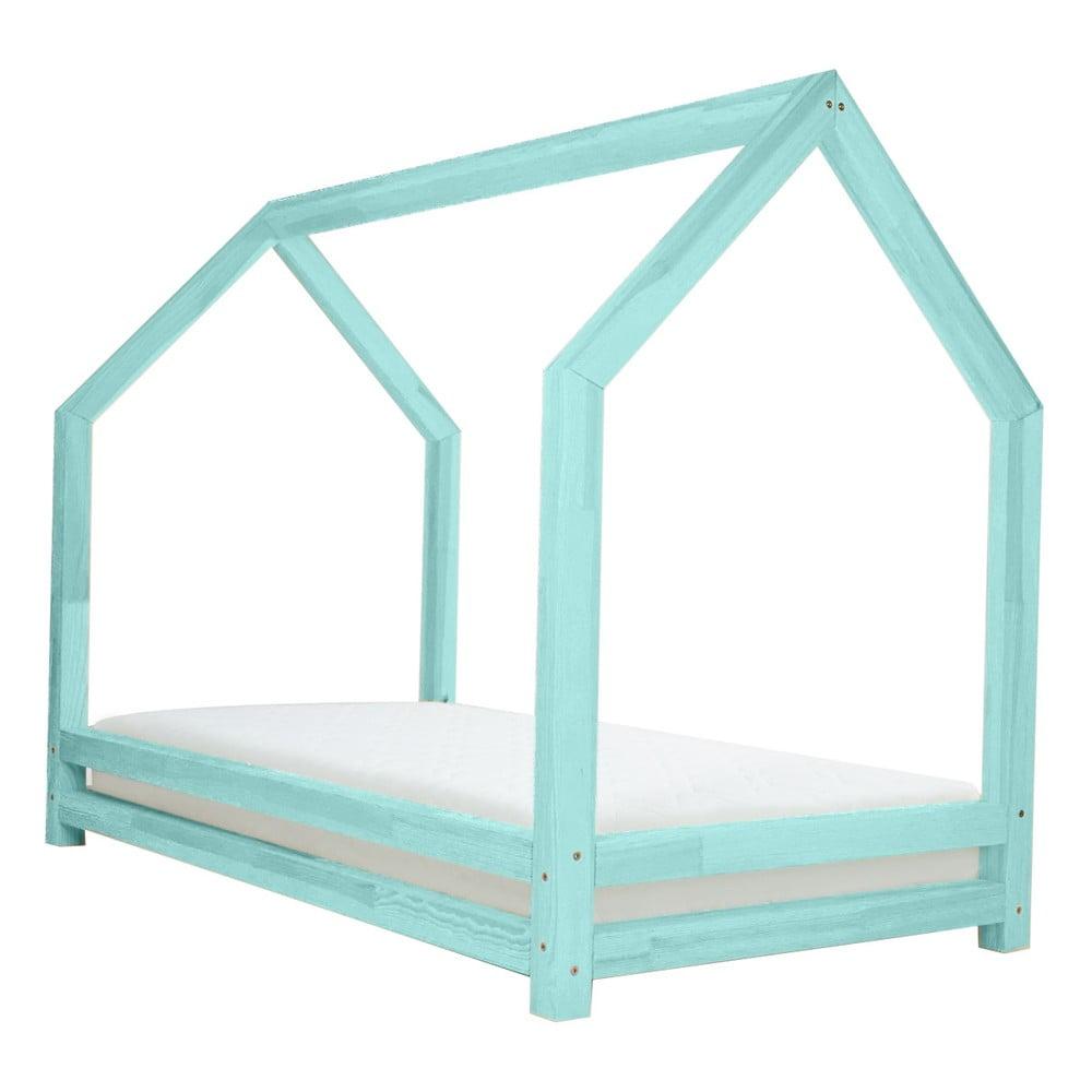 Tyrkysová jednolůžková postel z borovicového dřeva Benlemi Funny, 80 x 200 cm