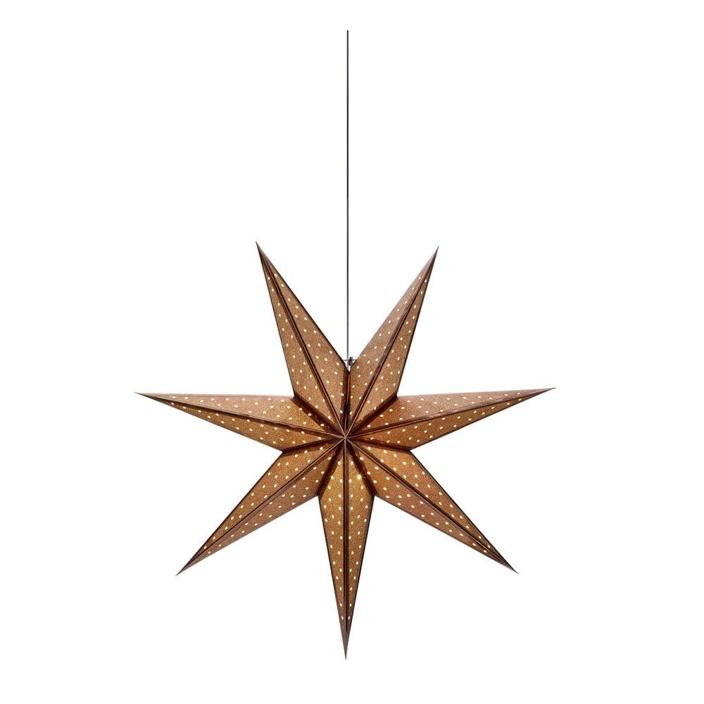 Hnědá vánoční závěsná světelná dekorace Markslöjd Glitter,délka45cm
