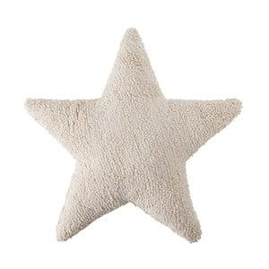 Pernă din bumbac lucrată manual Lorena Canals Star, 54 x 54 cm, crem