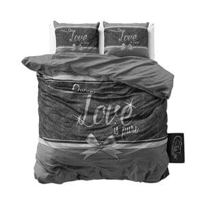 Šedé bavlněné povlečení Sleeptime Pure Love, 200 x 200 cm