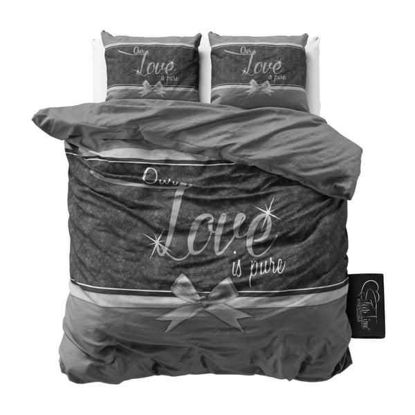 Šedé bavlněné povlečení na dvoulůžko Sleeptime Pure Love, 200 x 200 cm