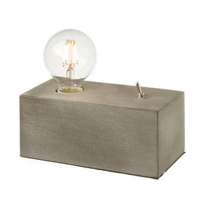 Šedá stolní lampa ze dřeva se žárovkou  Unimasa