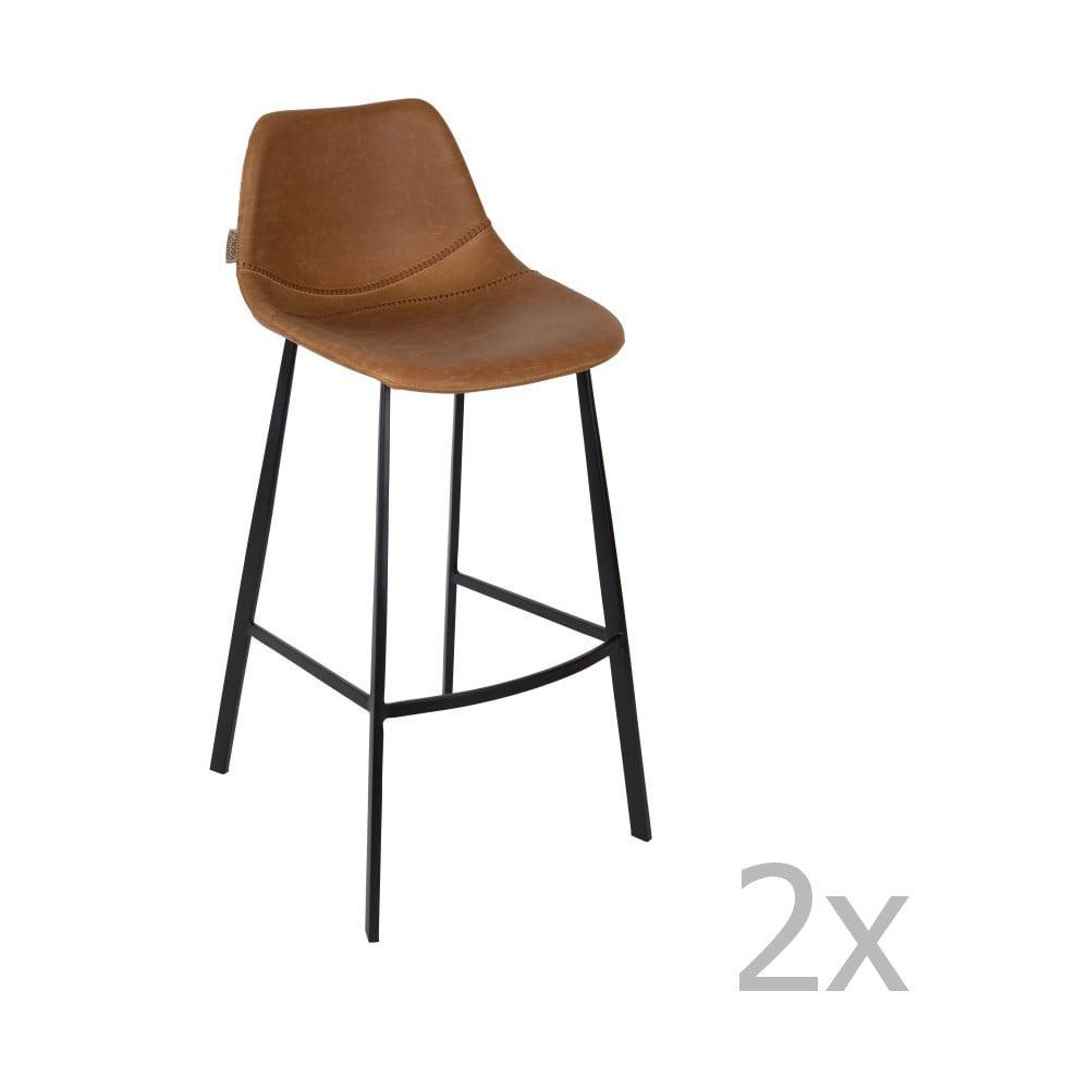 Sada 2 hnědých barových židlí Dutchbone Franky, výška 106 cm