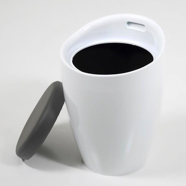 Stolička s úložným prostorem Minxie, bílo-šedá