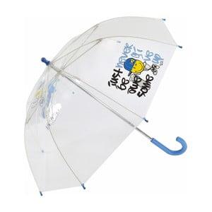 Umbrelă cu mâner albastru pentru copii Smiley World