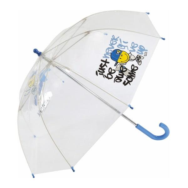 Dětský transparentní deštník s modrou rukojetí Smiley World
