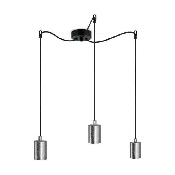 Czarna potrójna lampa wisząca z oprawkami w kolorze srebra Bulb Attack Cero