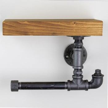 Suport din lemn de perete, pentru hârtia de toaletă Viliam