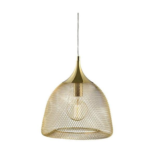 Zlaté závěsné světlo Markslöjd Grid, průměr33cm