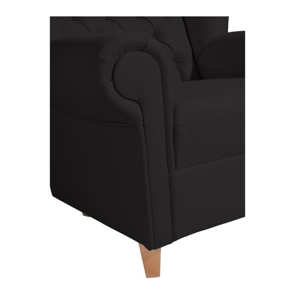 Černá křeslo ušák Max Winzer Vary Leather Black
