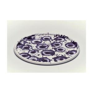 Fialovobílý smaltovaný talíř Kapka Floral Madness, Ø28cm