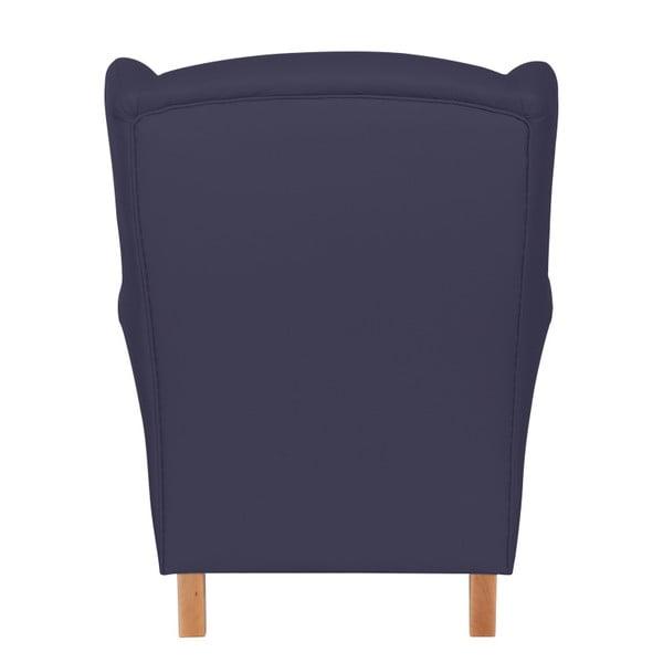 Tmavě modré křeslo ušák Max Winzer Lorris Leather Dark Blue