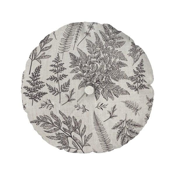 Šedý polštář Linen Couture Cojin Redondo Grey Leaf, ⌀ 45 cm