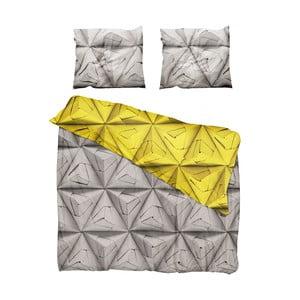 Žluto-hnědé povlečení Snurk Monogami Yellow, 200x200cm