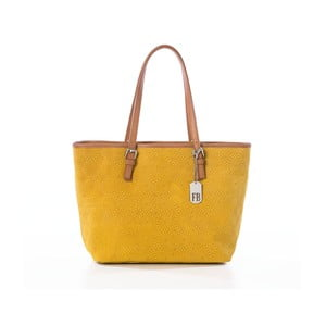 Hořčicová kabelka z pravé kůže Federica Bassi Puro II