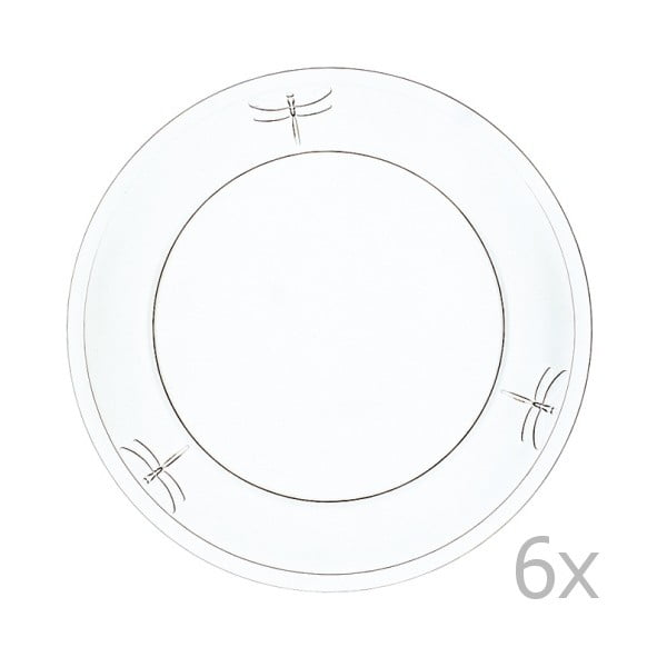 Sada 6 talířů Libellules, 25 cm