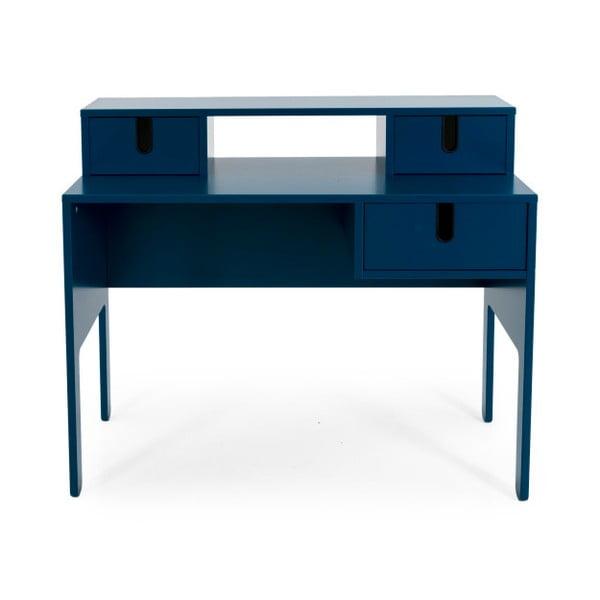 Petrolejově modrý pracovní stůl se 3 šuplíky Tenzo Uno