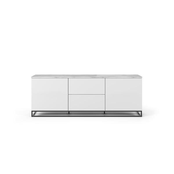 Join fehér TV állvány világos fedlappal és fekete lábakkal, 180 x 65 cm - TemaHome