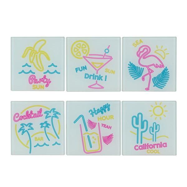 Zestaw 6 szklanych podkładek Le Studio California Cool
