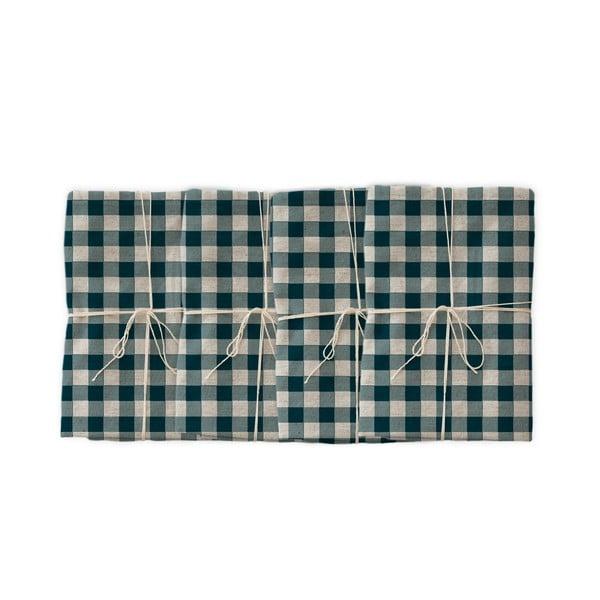 Set 4 șervețele textile Linen Couture Turquoise Vichy, 43 x 43 cm