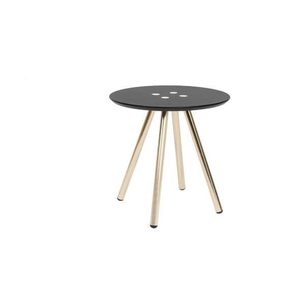 Černý konferenční stolek s pozlacenými nohami Letmotiv Sliced, ø40cm