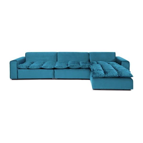 Morska prawostronna 3-osobowa sofa narożna Vivonita Cloud Blue Grey