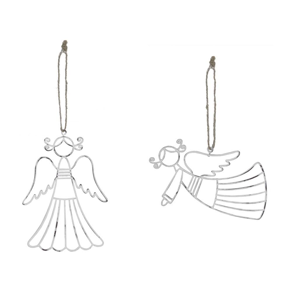 Sada 2 bílých závěsných dekorací z kovu Ego Dekor Angels