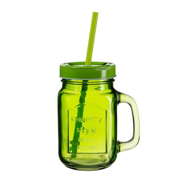 Zelená sklenice s víčkem a brčkem SUMMER FUN II BUNT, 450ml