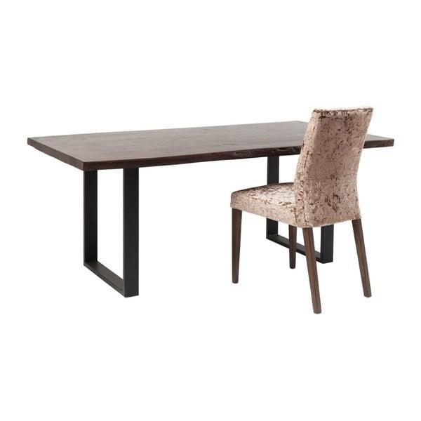 Černý jídelní stůl s deskou z akáciového dřeva Kare Design Nature, 180 x 90 cm