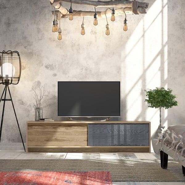 TV stolek v dekoru dubového dřeva s antracitovými detaily Newyork